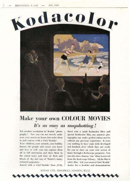 'Make your own COLOUR MOVIES - it's as easy as snapshotting!' - with a Cine- Kodak'  1929