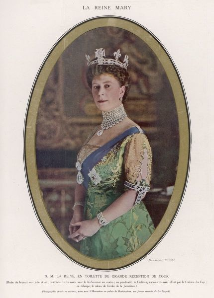KOH-I-NOOR DIAMOND Mary, Queen of George V, wearing a crown with the Koh-i-Noor diamond set in the centre