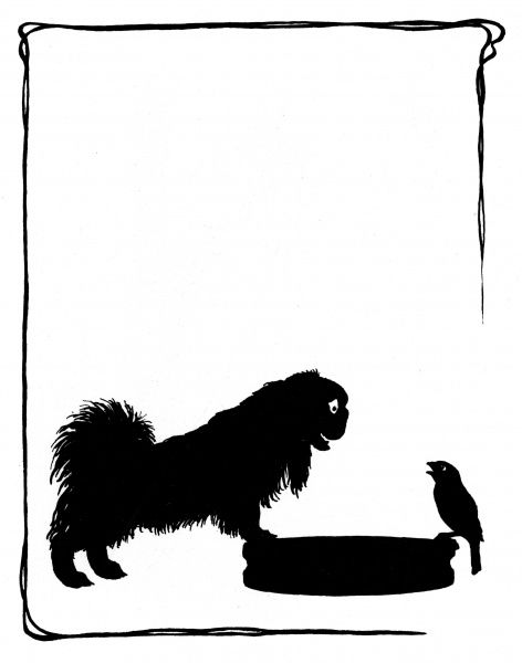Koko the Pekinese dog with Jack Sparrow -- Koko is excited to hear about the cat under the laurel bush. Date: 1937