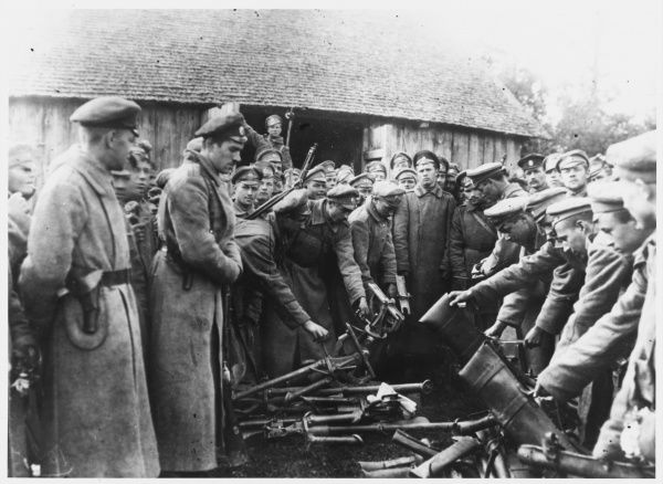 After the failure of general Kornilov's attempt to overthrow Kerensky's provisional government, his supporters are disarmed