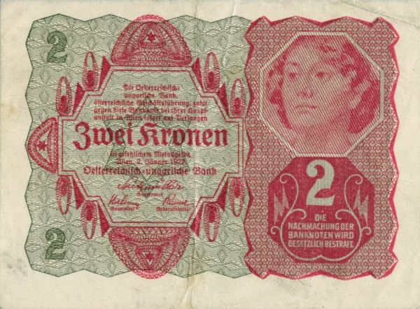 Front of banknote of Austria-Hungary on 2 Kronen edited in Wien/Becs 1/12 1916. Date: 1916