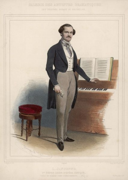 The principal tenor of the Opera Comique stands beside a piano