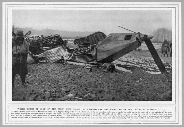 French soldiers inspect the wreckage of Zeppelin L77, shot down with an incendiary shell near Brabant-le-Roi