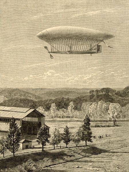 The first flight of the airship La France built by Charles Renard and Arthur C. Krebs on 9th August 1884. Seen here returning to its hangar after its 5 mile and 23 minute flight in France