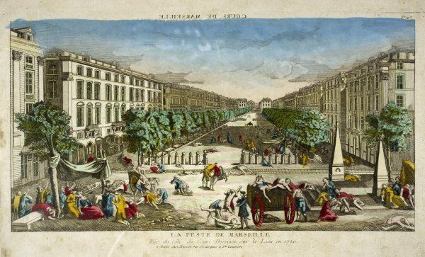 Scene showing the streets of Marseille strewn with plague victims, some being carted away in carts : drawing made on the spot in 1720