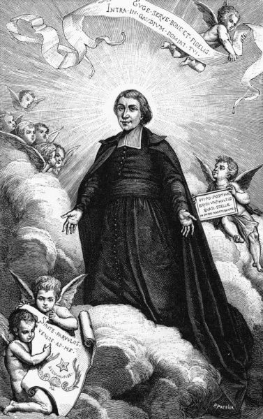 JEAN-BAPTISTE DE LA SALLE French churchman, educator and benefactor, founder of the Freres Chretiens, finds himself surrounded by cherubs when he gets to Heaven. Date: 1651 - 1719