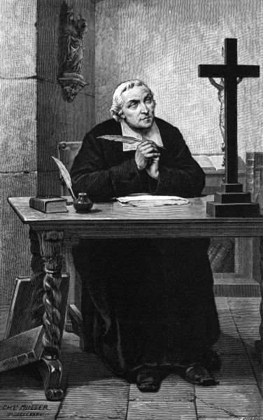 JEAN-BAPTISTE DE LA SALLE French churchman, educator and benefactor, founder of the Freres Chretiens, at his writing desk. Date: 1651 - 1719
