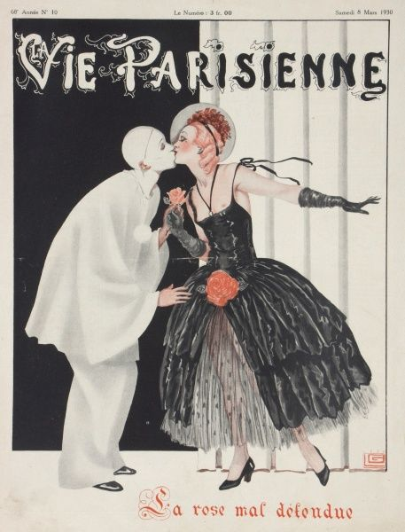 Pierrot stealing a kiss from a lady, possibly a stage actress