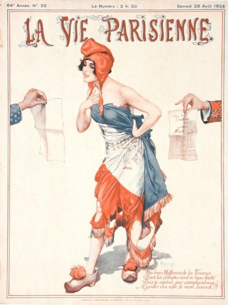 A cover girl dressed as a rather seductive Marianne with the French flag wrapped around her, looks surprised at bills or invoices held out to her by British and American hands