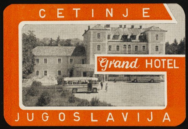 The label of the GRAND HOTEL, CETINJE, shows a coach unloading visitors at the hotel : at this time Yugoslavia still exists and Montenegro is part of it