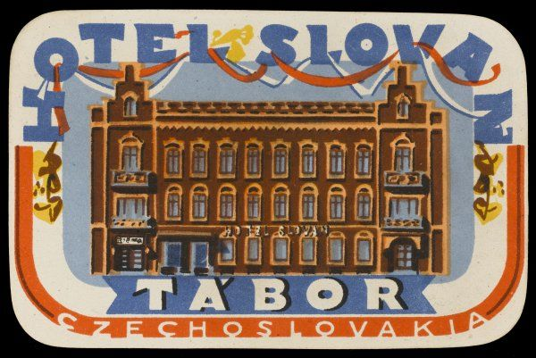 The colourful label of the HOTEL SLOVAN at TABOR, Czechoslovakia (as it then was) promises a warm and friendly welcome