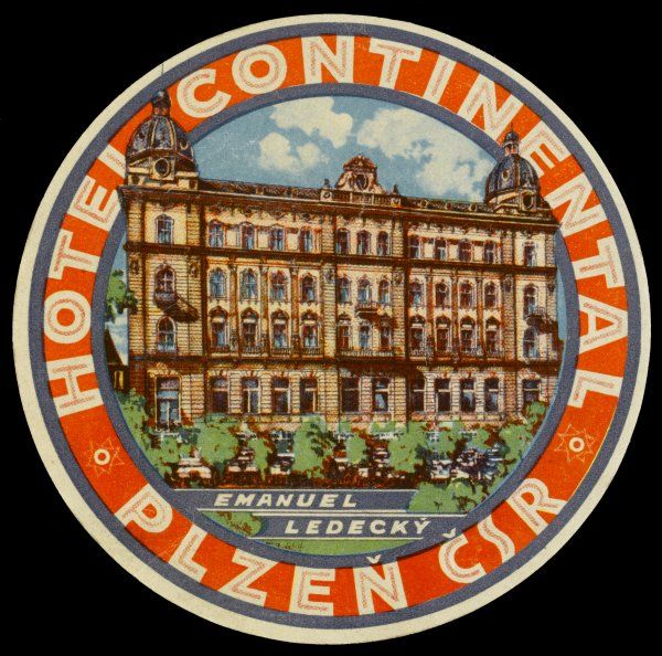 The label for the HOTEL CONTINENTAL at PLZEN CSR. Czechoslovakia, shows it as a typically solid Central European hotel from a forgotten age