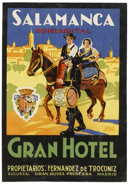 Label from the GRAN HOTEL, SALAMANCA (Spain) featuring typical Spanish folklore figures