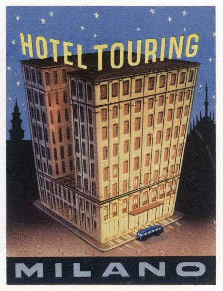 Yes, the HOTEL TOURING at MILANO, Italy, is big, and its fine label design emphasises it