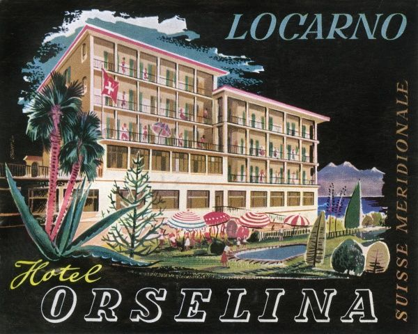 Luggage label from the Hotel Orselina, Locarno, Switzerland. Date: 20th century