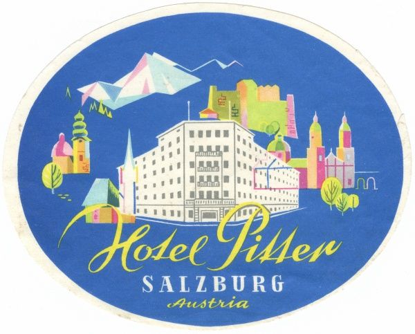 Luggage label from the Hotel Pitter, Salzburg, Austria. Date: 20th century