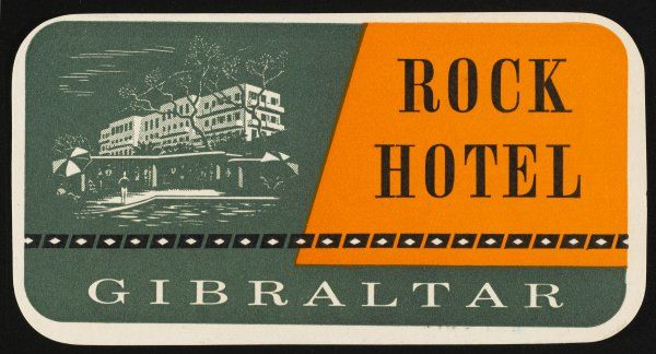 Label for the ROCK HOTEL, GIBRALTAR