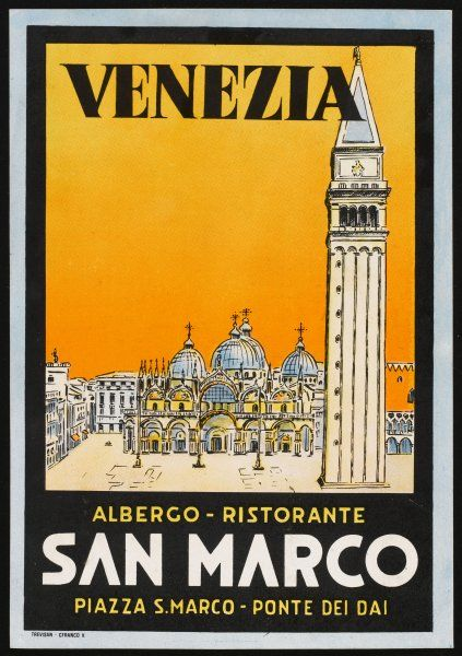 Label from the Albergo and Ristorante San Marco, Venice, Italy