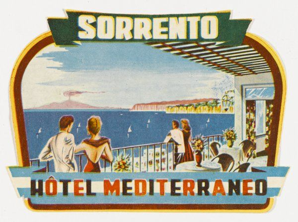 A panoramic view of Vesuvius is promised by the label of the HOTEL MEDITERRANEO at Sorrento, Italy, from its dining terrace