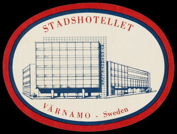 The label from the STADSHOTELLET at Varnamo, Sweden, leaves you with no doubt that this hotel is modern, efficient - and soul-less