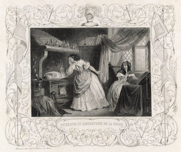 The laboratory of La Voisin, (Catherine Deshayes), Parisian adventuress, black magician and fortune teller who was eventually burnt for her wickedness