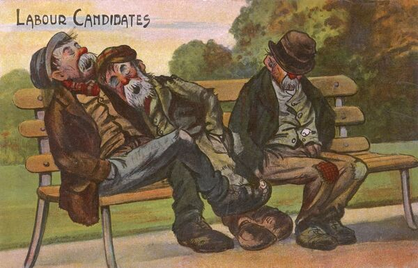 Labour candidates. - A postcard with a dual meaning, both a satire on potential Labour Party MPs and three down and out men all of whom are good candidates as labourers. Date: circa 1900s