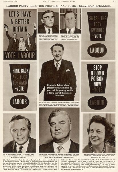 Labour Party election posters and speakers for Labour's series of five short television programmes in the run-up to the General Election of 8th October 1959 (which the Conservatives won)