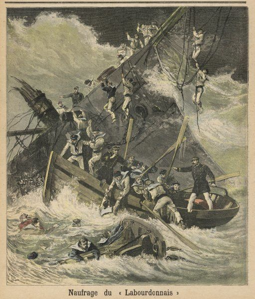 When this French warship is wrecked by a cyclone, her crew take to the boats or cling to wreckage in the stormy sea