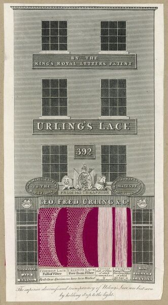 An advertisement for Urling's Lace, depicting their offices at 392 The Strand, London and giving samples of common lace, Urling's lace, Cotton and Urling's patent thread