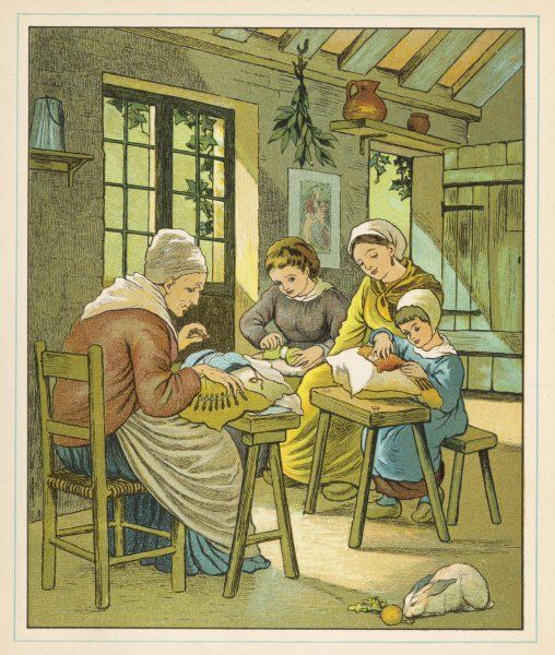 Lace making at home in Caen, Normandy, northern France