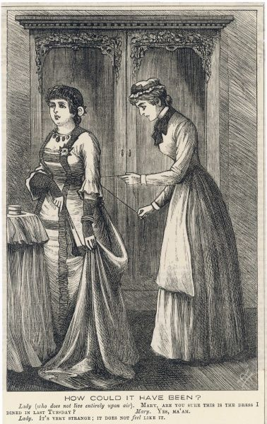 A young lady is laced into her dress by her maid