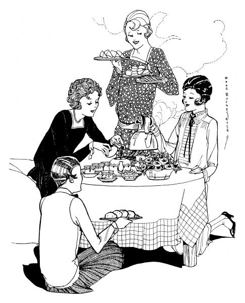 Ladies gather for a tea-party, with sandwiches and cakes