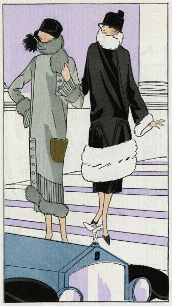 Two fashionable ladies wearing the latest coat designs. On the left, a woollen coat in grey, with pleating, buttons and fur trimming, and a gold-coloured pocket, by Drecoll. On the right, a black satin crepe coat with white fur trimming, by Jenny