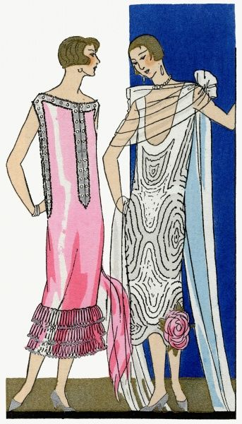 Two fashionable ladies in the latest sleeveless dresses. On the left, a pink crepe dress with crystal edging and three layers of frills at the hem, by Doucet. On the right, a white crepe dress decorated with white muslin with diamond edging