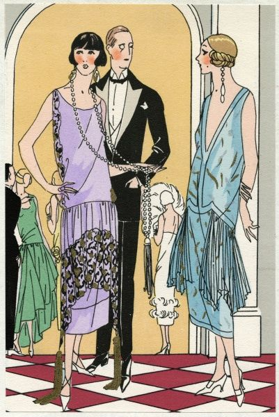 Two fashionable young ladies in the latest dresses. On the left, a sleeveless mauve dress in satin crepe with black and gold lace detail, by Martial et Armand. On the right, a sleeveless blue crepe dress with pleating on either side, and gold