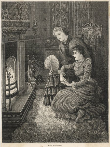 Two young ladies sit in front of an open fire : should they require them, a whole battery of tools are available to poke the coals, shovel the ash or brush the hearth