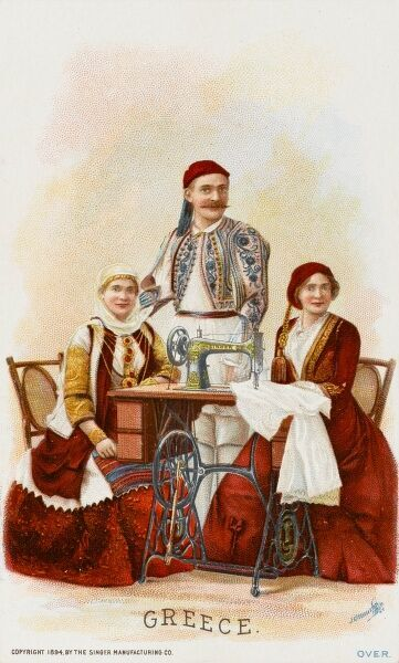Two Ladies and a gentleman from Greece surrounding a Singer Sewing Machine