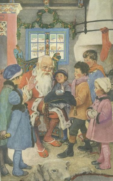 Illustration for the Ladies Home Journal, showing Father Christmas with a group of children