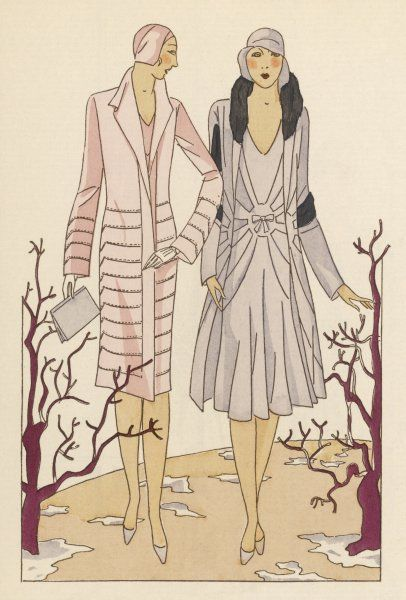Two ladies wear warm for a walk in the leafless autumn woods - one a crepe georgette ensemble with stitching by Philippe et Gaston, the other a crepe dress by Jenny