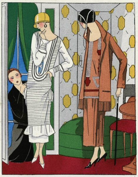 Two ladies in outfits by Bernard. On the left, a dress in white crepe de chine with a frill at the hem. On the right, a three-piece outfit in pale pink crepe with red and silver geometrical designs.  1924
