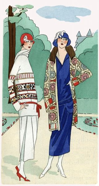 Two fashionable ladies wearing daytime outfits by Madeleine et Madeleine. On the left, a white three-piece tennis outfit with patterned bands. On the right, a plain royal blue crepe de chine dress with floral coat and fur collar.  1924