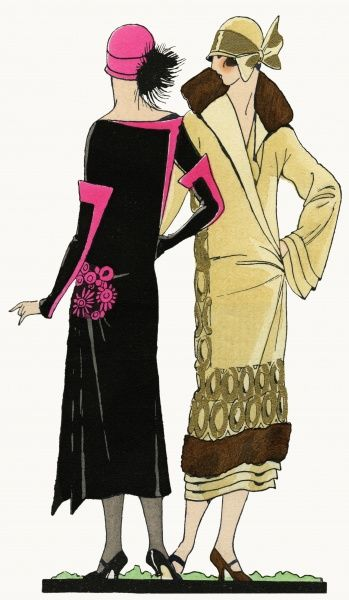 Two fashionable young ladies in the latest autumn outfits. On the left, a black crepe dress with bright pink trimmings and cloche hat, by Paul Poiret. On the right, a beige crepe coat with gold detail, brown fur on collar and hem, and pleats below
