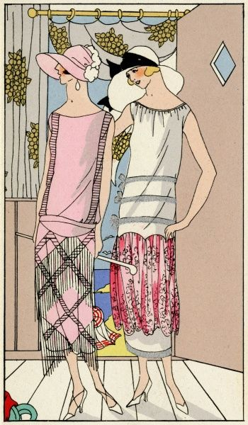 Two fashionable ladies in late summer outfits. On the left, a pink crepe dress decorated with white pearls, by Philippe et Gaston. On the right, a white crepe dress trimmed with pink lace and silver braid, by Bernard.  1924