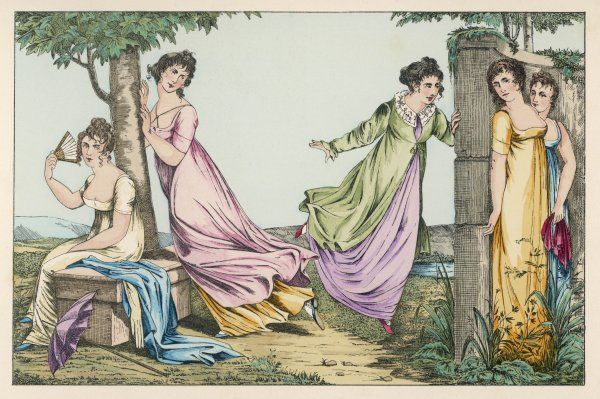 Five elegant ladies playing hide and seek in a garden. Two of them are hiding behind a wall