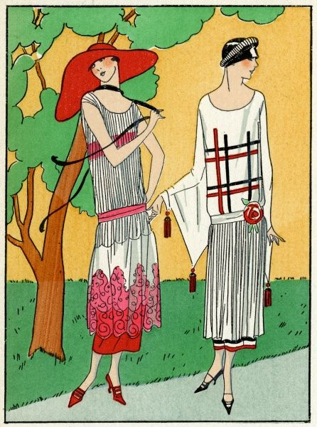 Two fashionable young ladies in summer outfits by Martial et Armand. On the left, a white crepe dress with red lace trimming. On the right, a white crepe de chine dress with a geometrical design on the bodice, a pleated skirt, a rose at the hip