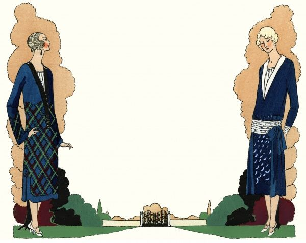 Two fashionable ladies in the latest winter outfits. On the left, a visitor's dress in blue with a tartan pattern, by Premet. On the right, a dress in blue satin crepe with white chenille decorations, by Worth.  1924