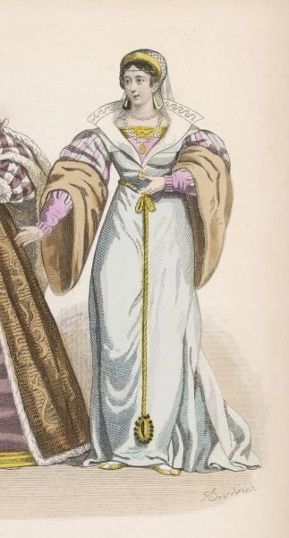 Lady of the court of Francois I, wearing a fine gown with wide collar and huge fur sleeves