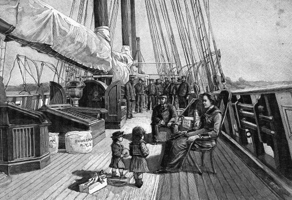 LADY ANNA BRASSEY, first wife of Thomas Brassey, on the deck of the 'Sunbeam', of a voyage aboard which she will write an account. Date: 1839 - 1887