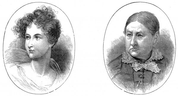 Two engraved portraits of Lady Charlotte Bacon (1801-1880), who was the 'Ianthe' referred to in Lord Byron's 'Childe Harold' of 1817. The portrait on the left shows her at sixteen and the other at seventy-nine
