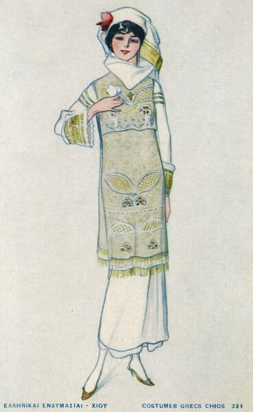 A young lady from the Greek Island of Chios in attractive pale outfit of a dress and embroidered tabard, with embroidered sleeves and white headscarf
